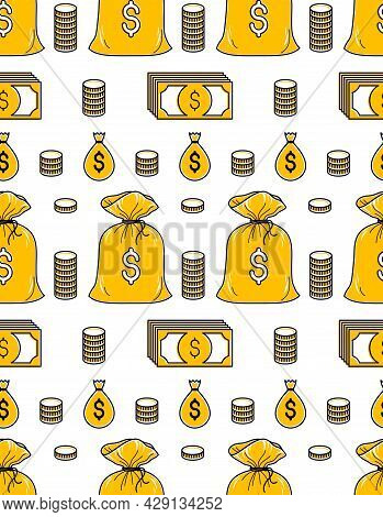 Money Bags Seamless Background, Backdrop For Financial Business Website Or Economical Theme Ads And