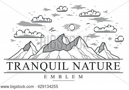 Mountains Range Linear Vector Emblem Isolated On White, Line Art Drawing Of Mountain Peaks Wildernes