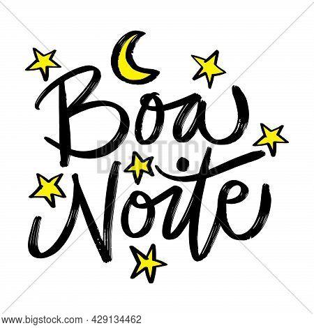 Boa Noite Hand Lettering. Brazilian. Good Night. Greeting Card.