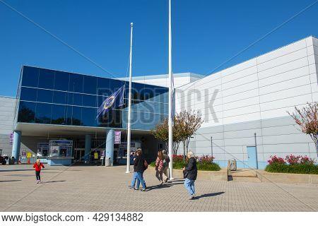 Houston, Tx, Usa - Dec. 14, 2018: Main Entrance To Johnson Space Center In City Of Houston, Texas Tx