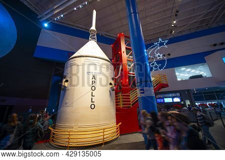 Houston, Tx, Usa - Dec. 15, 2018: Saturn V Rocket Model Displayed In Johnson Space Center In City Of