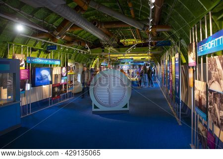 Houston, Tx, Usa - Dec. 15, 2018: Interior Of Boeing 747 Shuttle Carrier Aircraft On Independence Pl