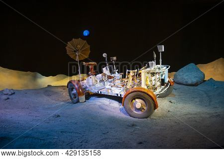 Houston, Tx, Usa - Dec. 15, 2018: Apollo Lunar Roving Vehicle (moon Buggy) Model Displayed In Johnso