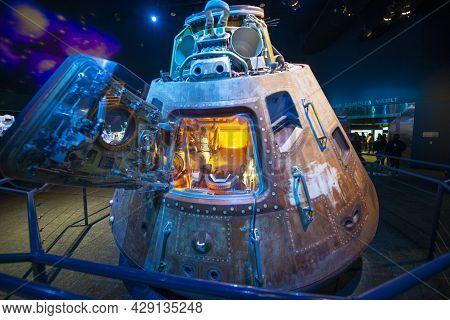 Houston, Tx, Usa - Dec. 15, 2018: Apollo 17 Command Module Displayed In Johnson Space Center In City