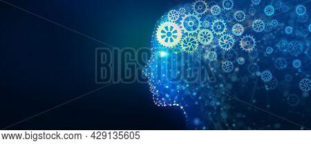 Human Head With A Luminous Cog Wheel. Creative Brain Gear, Idea, Intelligence, Imagination, And Insp