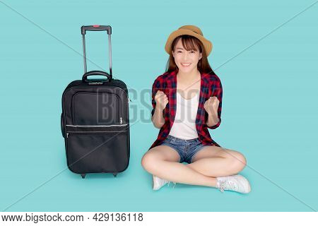 Beautiful Portrait Young Asian Woman Excited And Success And Luggage For Travel Trip In Summer Vacat