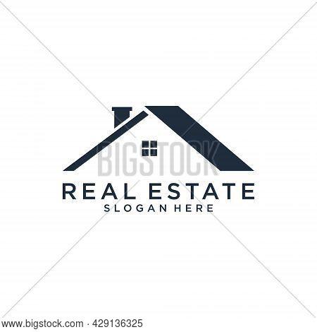Real Estate Logo Vector Home Design Concept. Roof And Home Logo Vector