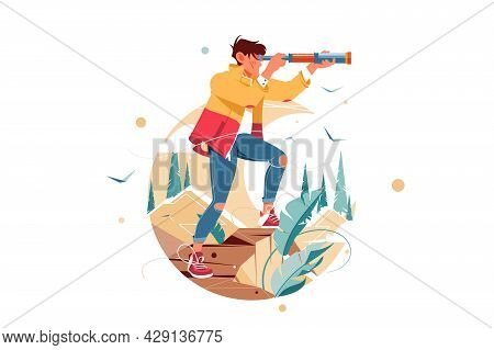 Young Confident Male Traveler Watching From Height Using Spyglass. Isolated Icon Concept Of Handsome