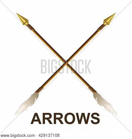 Sketch Arrows Drawn Obliquely, Gold Tip, White Feather, Design Component.