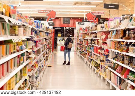 Sydney, Australia 2021-07-21 Grocery Aisle At Coles Supermarket During Covid-19 Delta Outbreak Lockd