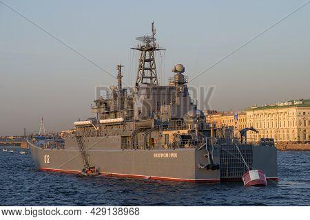 Saint Petersburg, Russia - July 26, 2021: Large Landing Ship