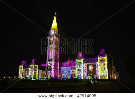 light show on the Canadian House of Parliament