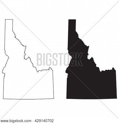 Idaho Map On White Background. Idaho State Sign. Outline Idaho Map Symbol. Flat Style.