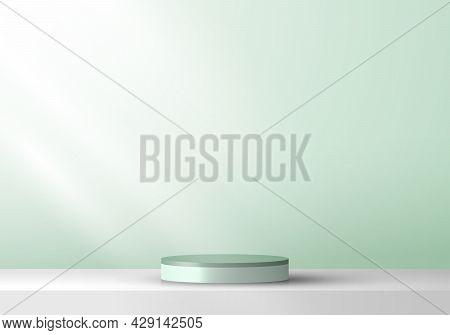 3d Cylinder Pedestal Product Display Presentation Minimal Wall Scene Green Mint Color Background. Yo