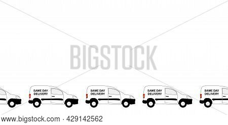 A Line Of Small White Same Day Delivery Vans With Copy Space Isolated On A White Background