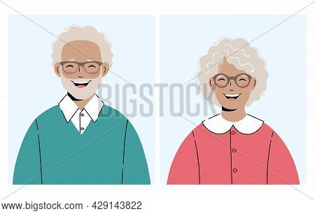 Set Of Illustrations: An Elderly Woman And An Elderly Man With Glasses. Great For Avatars. Vector