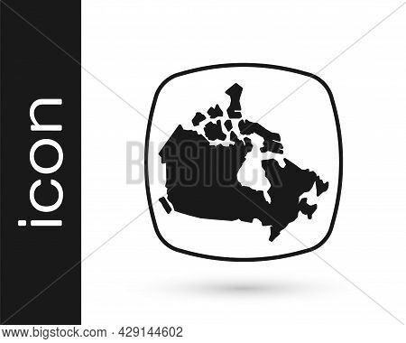 Black Canada Map Icon Isolated On White Background. Vector