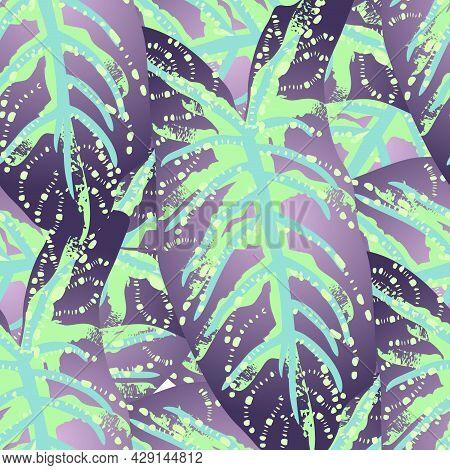 Tropical Leaf. Modern Motif. Jungle Print. Foliage Summer Seamless Pattern. Trending Greenery Vector