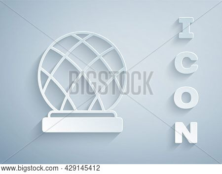 Paper Cut Montreal Biosphere Icon Isolated On Grey Background. Paper Art Style. Vector