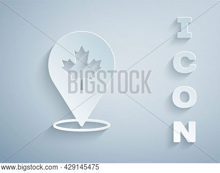 Paper Cut Canadian Maple Leaf Icon Isolated On Grey Background. Canada Symbol Maple Leaf. Paper Art