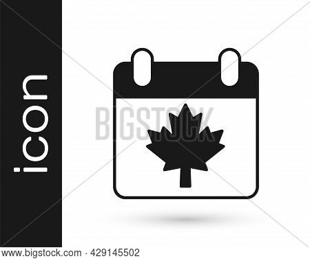 Black Canada Day With Maple Leaf Icon Isolated On White Background. 1-th Of July Independence Day On