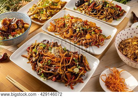 Assorted Asian Dinner. Asian Food Concept, Close Up