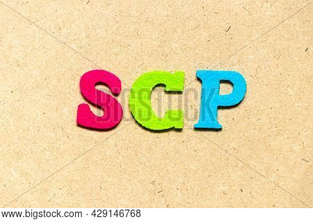 Color Cloth Alphabet Letter In Word Scp (abbreviation Of  Service Control Point, Supply Chain Planni
