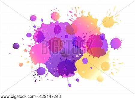 Purple, Pink, Yellow Vector Watercolor Background. Watercolor Splashes On Textured Background