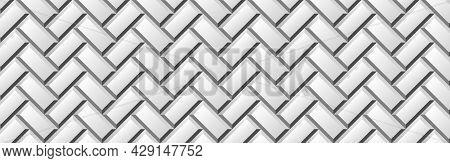 Light Background With Metro Ceramic Tiles. Realistic Diagonal Texture