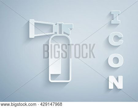 Paper Cut Fire Extinguisher Icon Isolated On Grey Background. Paper Art Style. Vector