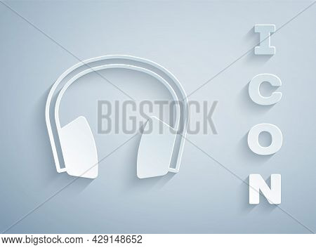 Paper Cut Noise Canceling Headphones Icon Isolated On Grey Background. Headphones For Ear Protection