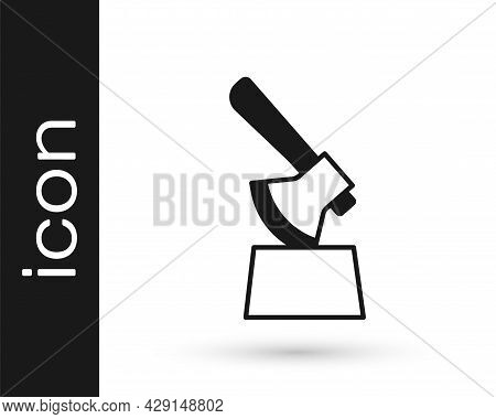 Black Wooden Axe In Stump Icon Isolated On White Background. Lumberjack Axe. Axe Stuck In Wood. Chop