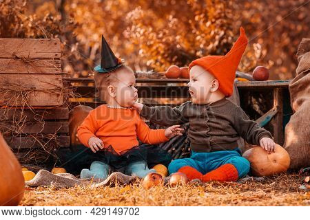 Halloween. A Boy In A Dwarf Costume And A Girl In A Witch Costume, Surrounded By Pumpkins And Agricu