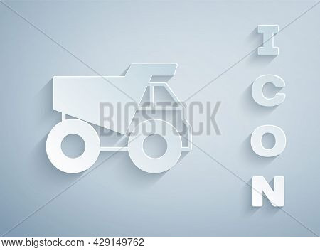 Paper Cut Mining Dump Truck Icon Isolated On Grey Background. Paper Art Style. Vector