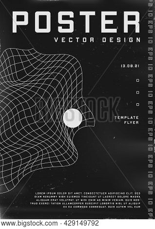 Retrofuturistic Poster Design. Cyberpunk 80s Style Poster With Liquid Distorted Grid And Sphere. Sha