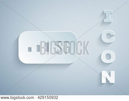 Paper Cut 5g New Wireless Internet Wifi Connection Icon Isolated On Grey Background. Global Network