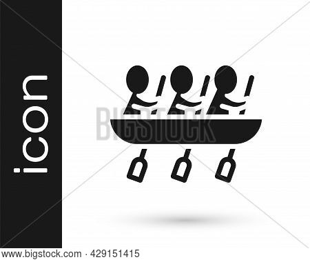 Black Canoe Rowing Team Sports Icon Isolated On White Background. Three Athletes With Oars Rowing In