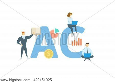 Ac, Alternating Current. Concept With Keywords, People And Icons. Flat Vector Illustration. Isolated
