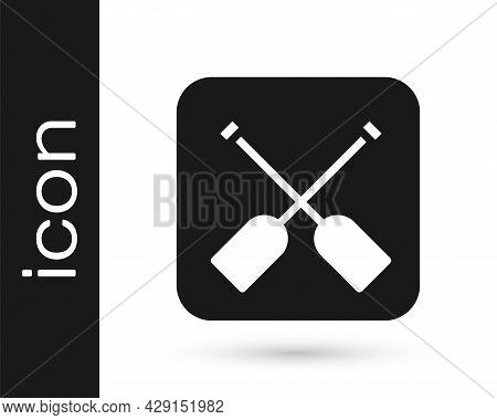 Black Paddle Icon Isolated On White Background. Paddle Boat Oars. Vector