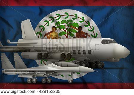 Air Forces On The Belize Flag Background. Belize Air Forces Concept. 3d Illustration