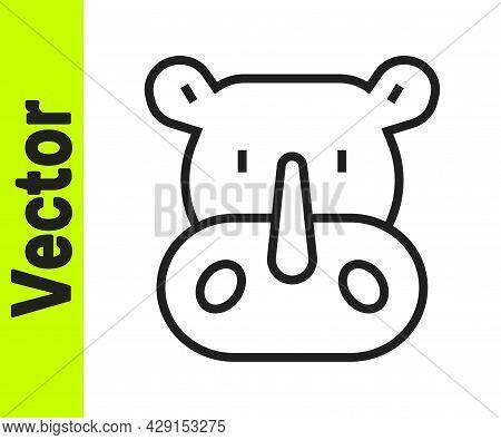 Black Line Rhinoceros Icon Isolated On White Background. Animal Symbol. Vector