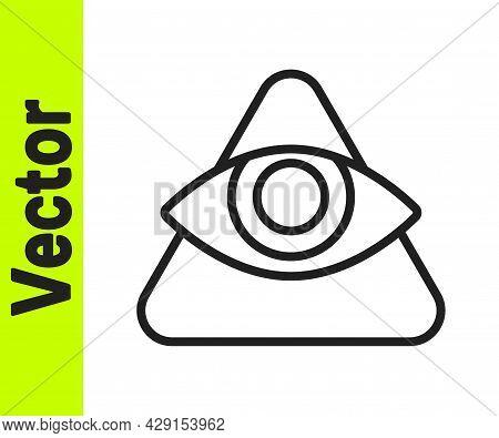 Black Line Masons Symbol All-seeing Eye Of God Icon Isolated On White Background. The Eye Of Provide