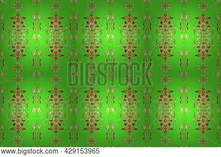 Raster Golden Textile Print. Golden Pattern On Brown, Green And Beige Colors With Golden Elements. F