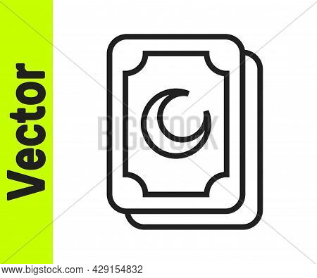 Black Line Tarot Cards Icon Isolated On White Background. Magic Occult Set Of Tarot Cards. Vector