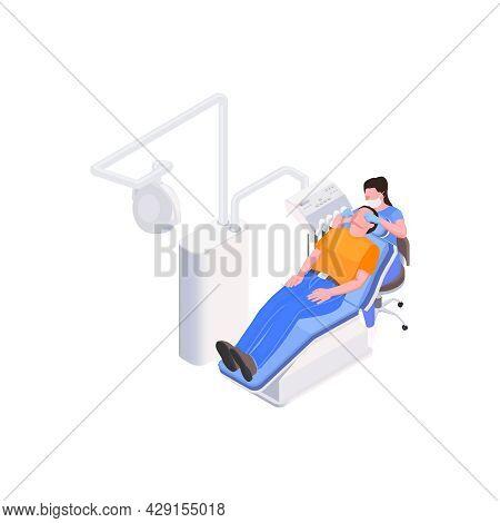 Isometric Stomatology Clinic Icon With Man Having Dental Treatment Vector Illustration