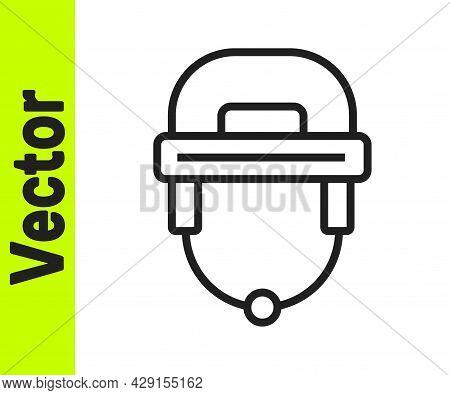 Black Line Hockey Helmet Icon Isolated On White Background. Vector