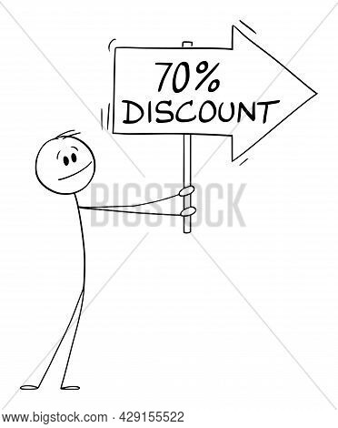 Person Or Businessman Holding 70 Or Seventy Percent Discount Arrow Sign And Pointing At Something,
