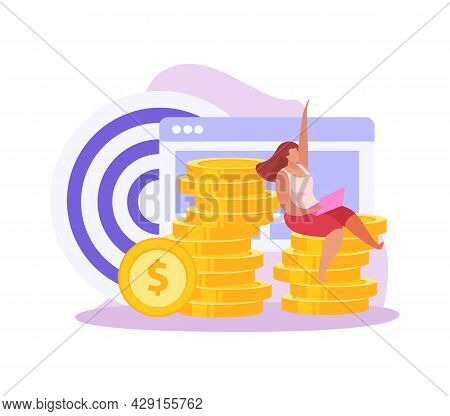 Crowdfunding Flat Icon With Female Character Sitting On Stack Of Gold Coins Vector Illustration