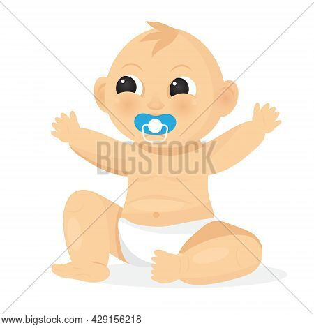The Baby Is Sitting And Sucking A Pacifier. Cartoon Baby Is Wearing A Diaper. Happy Infancy Concept