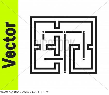 Black Line Evacuation Plan Icon Isolated On White Background. Fire Escape Plan. Vector